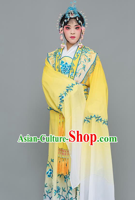 Chinese Traditional Peking Opera Nobility Lady Costumes Ancient Peri Yellow Dress for Adults