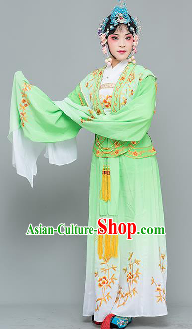 Chinese Traditional Peking Opera Nobility Lady Costumes Ancient Peri Green Dress for Adults