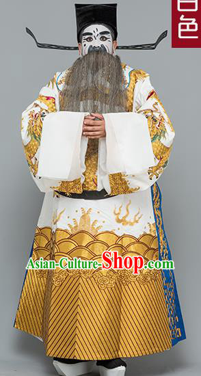 Chinese Traditional Peking Opera Prime Minister Costume Ancient White Embroidered Robe for Adults xxxxxl