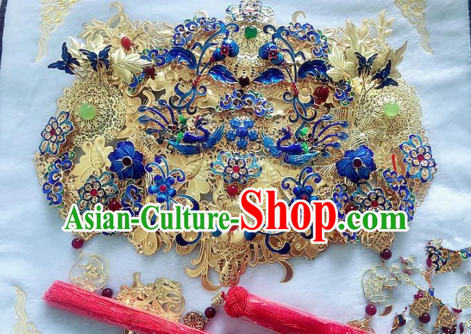 Handmade Chinese Ancient Blueing Hair Accessories Phoenix Coronet Hanfu Hairpins Complete Set for Women