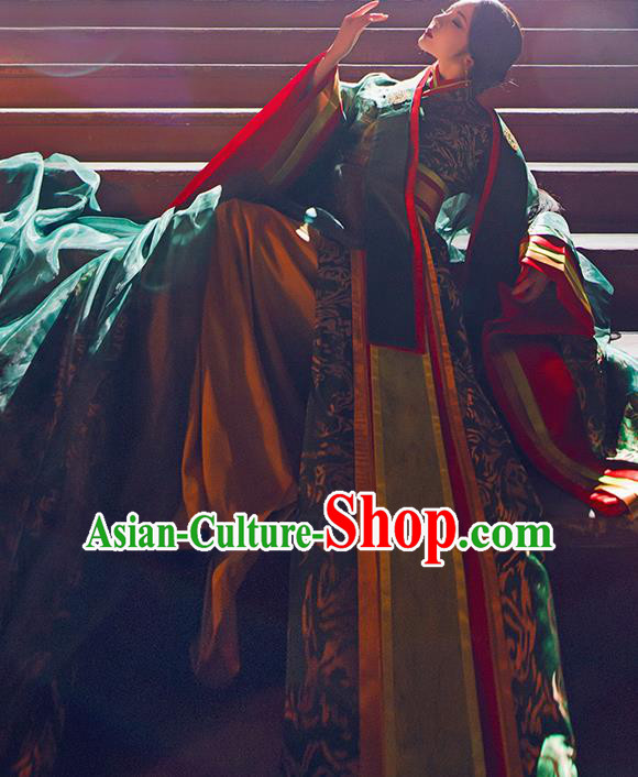 Chinese Traditional Imperial Consort Hanfu Dress Ancient Qin Dynasty Goddess Embroidered Costumes for Women