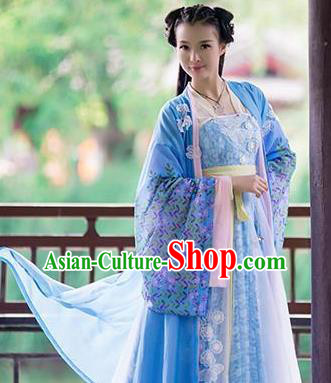 Chinese Traditional Court Maid Hanfu Dress Ancient Princess Embroidered Costumes for Women