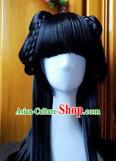 Chinese Ancient Hanfu Blunt Bangs Wigs Sheath Hair Accessories Traditional Princess Chignon for Women