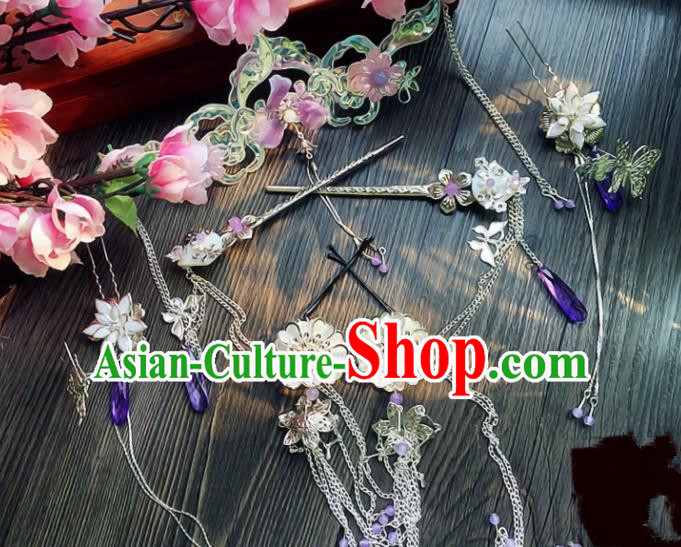 Chinese Handmade Ancient Phoenix Coronet Palace Hair Accessories Hanfu Hairpins Complete Set for Women