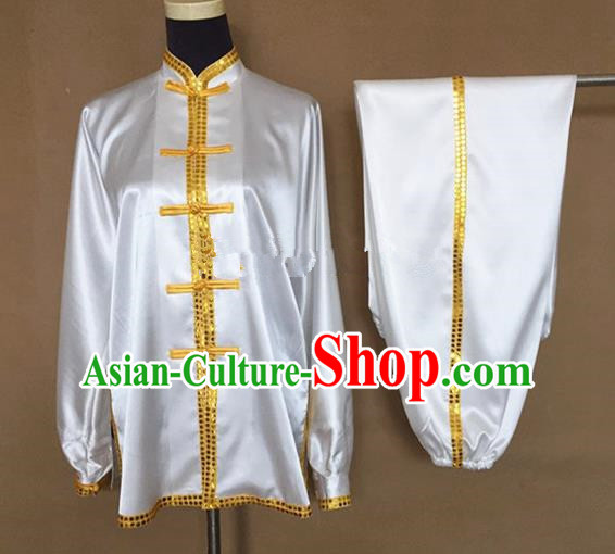 Chinese Traditional Martial Arts Yellow Buttons Costumes Tai Chi Tai Ji Training Silk Clothing for Adults