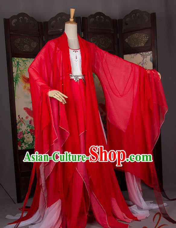 Traditional Chinese Handmade Cosplay Costumes Ancient Princess Wedding Red Hanfu Dress for Women
