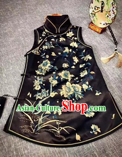 Chinese Traditional Qing Dynasty Costumes Ancient Princess Embroidered Black Silk Vests for Women