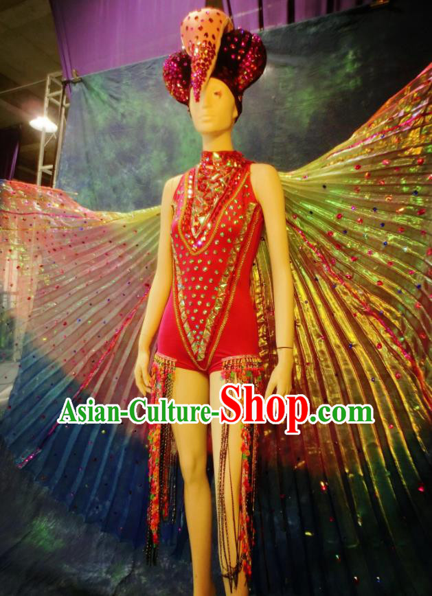 Top Grade Halloween Stage Performance Costumes Brazilian Carnival Clothing and Wings Headdress for Women