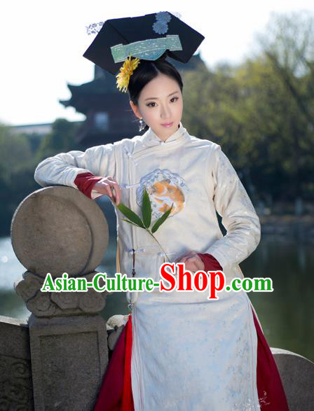 Chinese Traditional Manchu Palace Lady Costumes Ancient Qing Dynasty Court Maid Embroidered Clothing and Headpiece for Women
