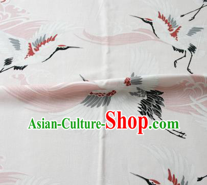 Asian Japanese Traditional Kimono White Brocade Fabric Silk Material Classical Cranes Pattern Design Drapery