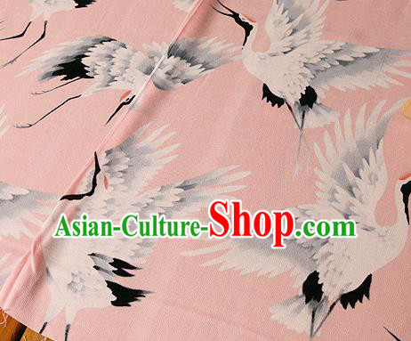 Asian Japanese Traditional Kimono Pink Brocade Fabric Silk Material Classical Cranes Pattern Design Drapery
