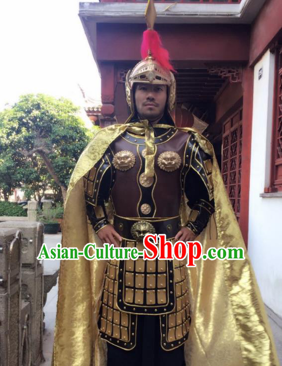 Chinese Traditional Qin Dynasty General Costumes Ancient Warrior Helmet and Body Armour for Men