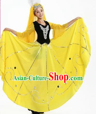 Chinese Traditional Uyghur Nationality Dance Costumes Uigurian Folk Dance Yellow Dress for Women