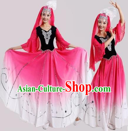 Chinese Traditional Uyghur Nationality Dance Costumes Uigurian Folk Dance Pink Dress for Women