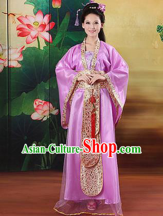 Chinese Traditional Classical Dance Costumes Ancient Peri Purple Hanfu Dress for Women