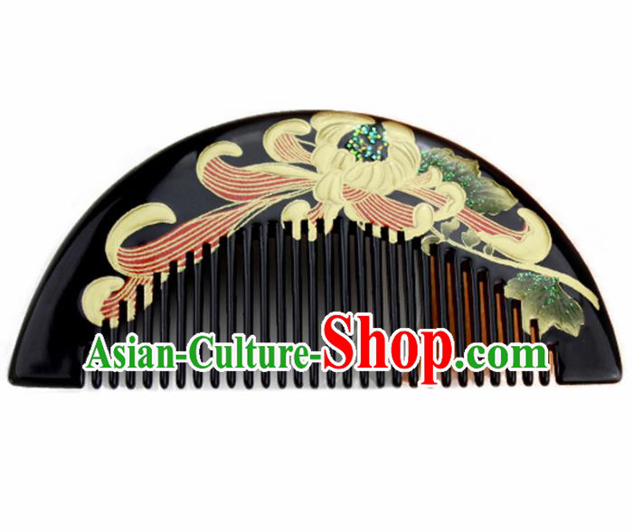 Japanese Traditional Courtesan Kimono Black Lacquer Hair Comb Ancient Geisha Hair Accessories for Women