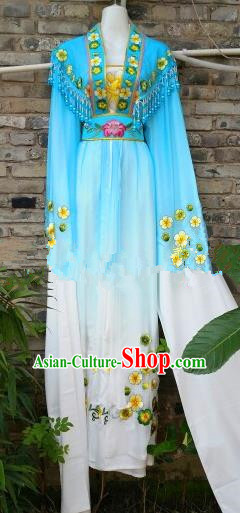 Chinese Traditional Beijing Opera Actress Costumes Ancient Nobility Lady Embroidered Blue Dress for Women
