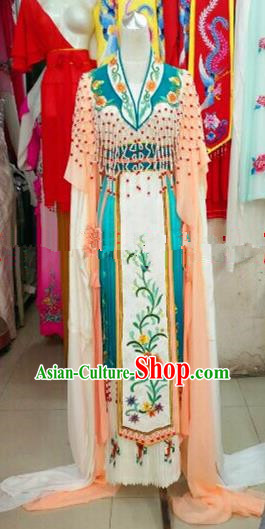 Chinese Traditional Beijing Opera Princess Costumes Ancient Nobility Lady Embroidered Orange Dress for Women