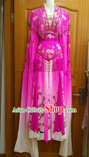 Chinese Traditional Beijing Opera Princess Silk Costumes Ancient Peri Embroidered Rosy Dress for Women