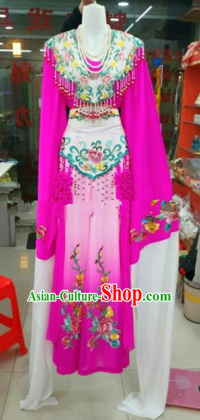 Chinese Traditional Beijing Opera Princess Rosy Silk Dress Ancient Peri Embroidered Costumes for Women