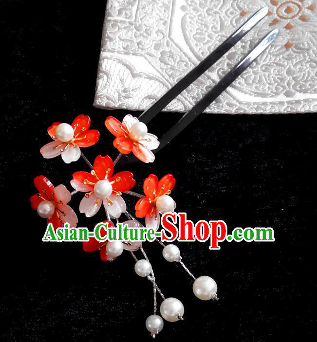 Japanese Traditional Courtesan Hair Accessories Red Hair Clip Ancient Kimono Yukata Tassel Hairpins for Women