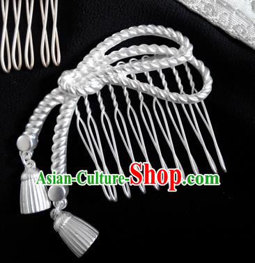 Japanese Traditional Hair Accessories Ancient Courtesan Kimono White Hair Comb for Women