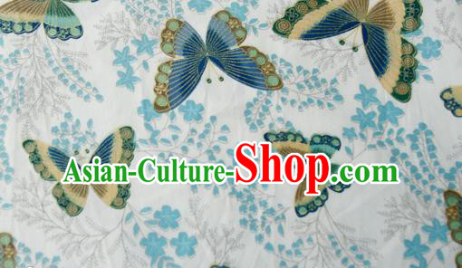 Asian Japanese Traditional Kimono Brocade Fabric Silk Material Classical Blue Butterfly Pattern Design Drapery