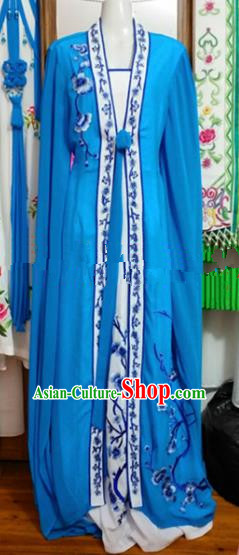 Chinese Traditional Beijing Opera Diva Blue Dress Ancient Court Maid Embroidered Costumes for Women