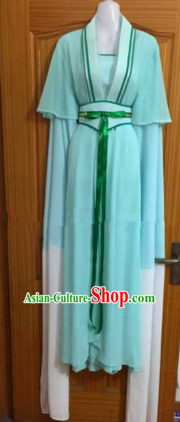 Chinese Traditional Beijing Opera Maidservants Green Dress Ancient Mui Tsai Costumes for Poor