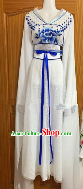 Chinese Traditional Beijing Opera Nobility Lady White Dress Ancient Peri Embroidered Costumes for Rich
