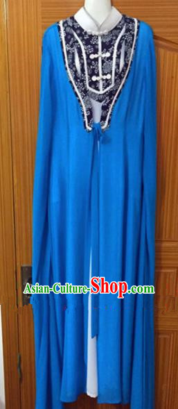 Chinese Traditional Peking Opera Peri Blue Dress Ancient Nobility Lady Embroidered Costumes for Rich