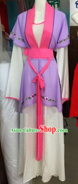 Chinese Traditional Peking Opera Maidservants Purple Dress Ancient Young Lady Embroidered Costumes for Poor