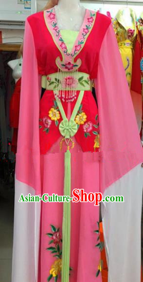 Chinese Traditional Beijing Opera Mui Tsai Pink Dress Ancient Peri Embroidered Costumes for Rich