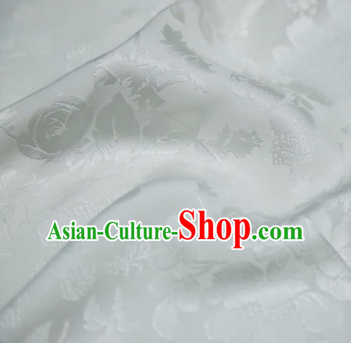 Chinese Royal White Brocade Palace Peony Pattern Satin Traditional Silk Fabric Chinese Fabric Asian Material