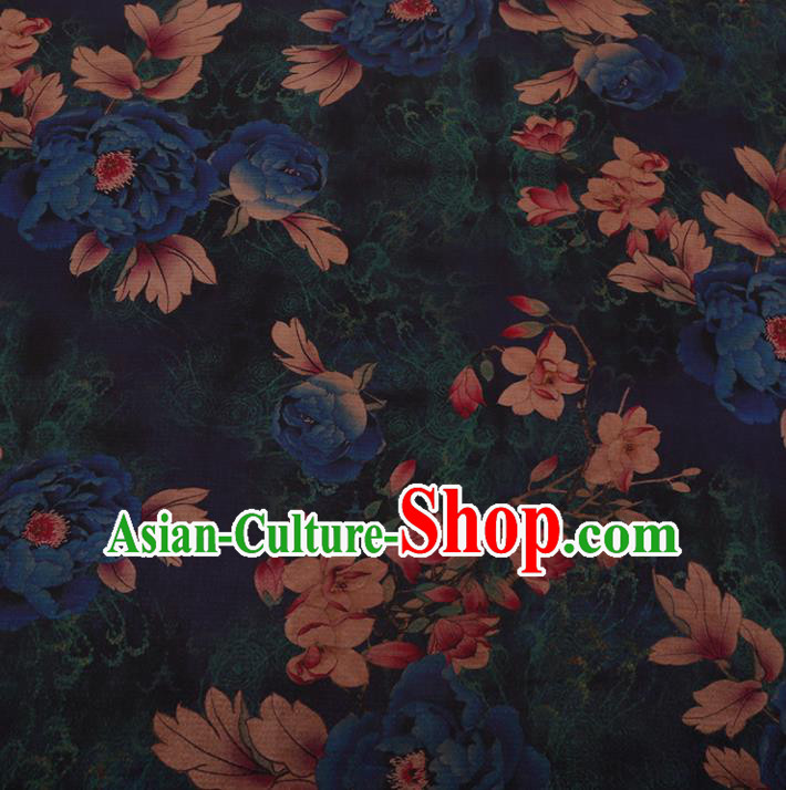 Chinese Traditional Cheongsam Navy Crepe Satin Plain Palace Peony Pattern Silk Fabric Chinese Fabric Asian Material