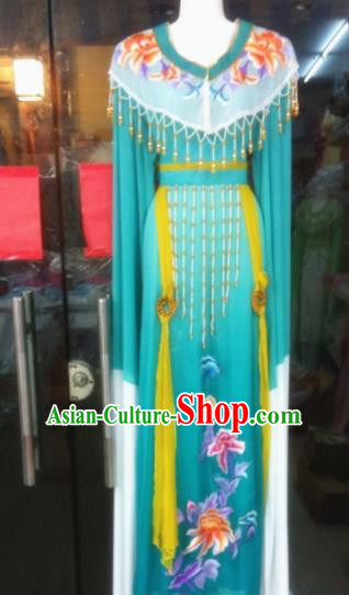 Chinese Traditional Peking Opera Princess Embroidered Green Dress Ancient Peri Silk Costumes for Women