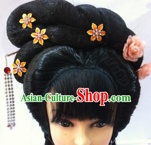 Chinese Traditional Ancient Beijing Opera Actress Wigs Sheath and Hairpins for Women