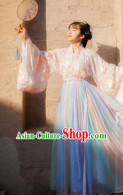 Chinese Ancient Palace Hanfu Costumes Traditional Jin Dynasty Princess Embroidered Hanfu Dress for Women