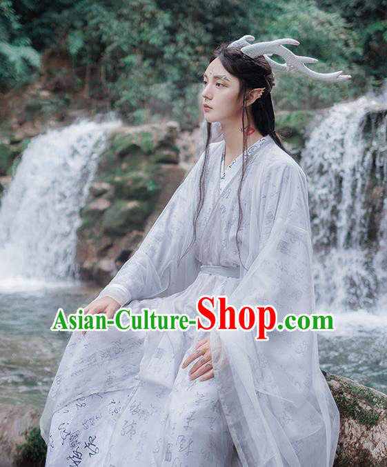 Chinese Jin Dynasty Handsome Nobility Childe Embroidered Costumes Ancient Swordsman Hanfu Clothing for Men