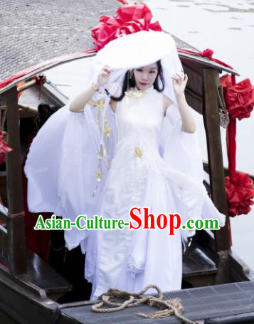 Traditional Chinese Cosplay Swordswoman White Hanfu Dress Ancient Peri Costume for Women