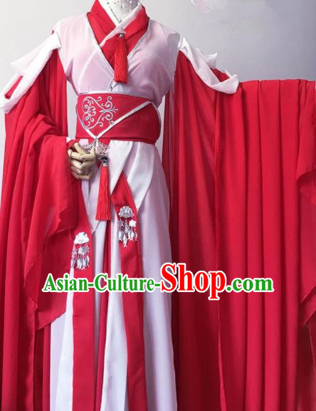 Traditional Chinese Cosplay Princess Red Hanfu Dress Ancient Swordswoman Costume for Women