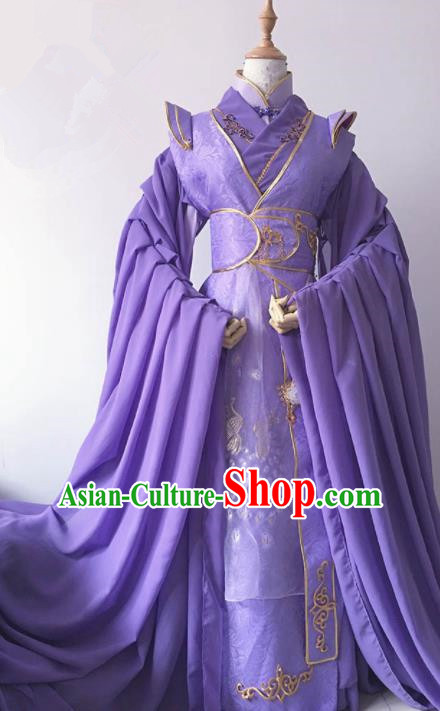 Traditional Chinese Cosplay Nobility Childe Purple Hanfu Clothing Ancient Prince Costume for Men