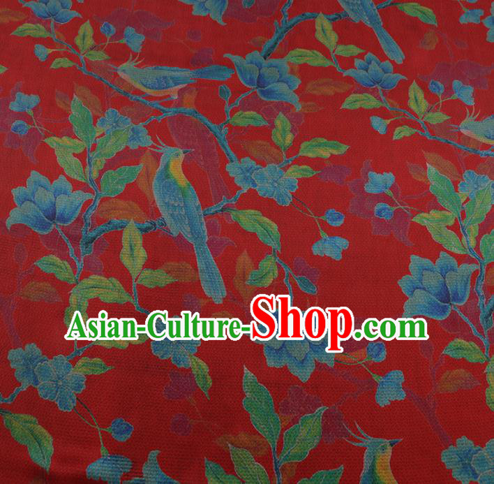 Chinese Classical Red Satin Plain Traditional Pattern Cheongsam Drapery Silk Fabric Gambiered Guangdong Gauze