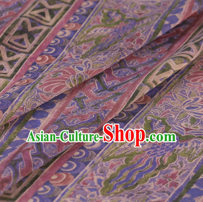Chinese Traditional Silk Fabric Classical Pattern Lilac Satin Plain Cheongsam Drapery Gambiered Guangdong Gauze