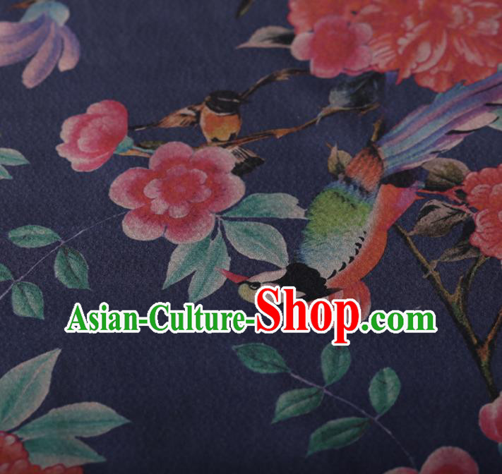 Chinese Traditional Silk Fabric Classical Azalea Pattern Blue Satin Plain Cheongsam Drapery Gambiered Guangdong Gauze