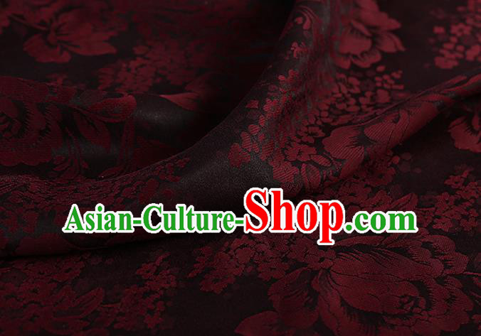 Chinese Classical Silk Fabric Traditional Red Peony Pattern Satin Plain Cheongsam Drapery Gambiered Guangdong Gauze