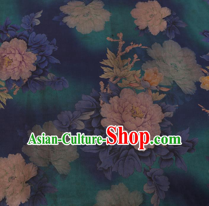 Asian Chinese Silk Fabric Traditional Classical Peony Flowers Pattern Green Satin Plain Cheongsam Drapery Gambiered Guangdong Gauze