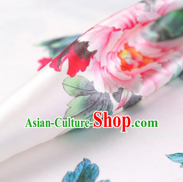 Traditional Chinese White Brocade Fabric Palace Peony Pattern Satin Plain Cheongsam Silk Drapery