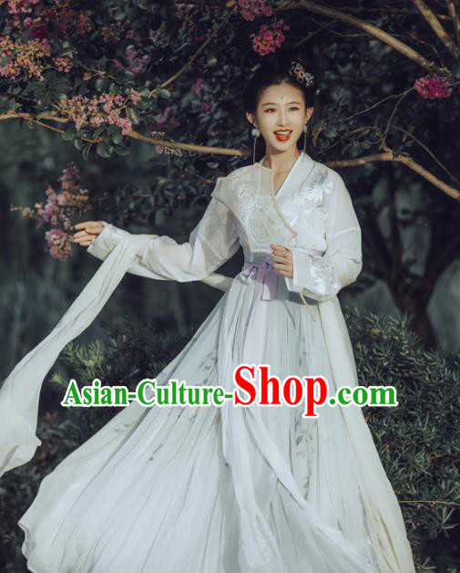 Chinese Tang Dynasty Princess Hanfu Dress Ancient Fairy Embroidered Costumes for Women