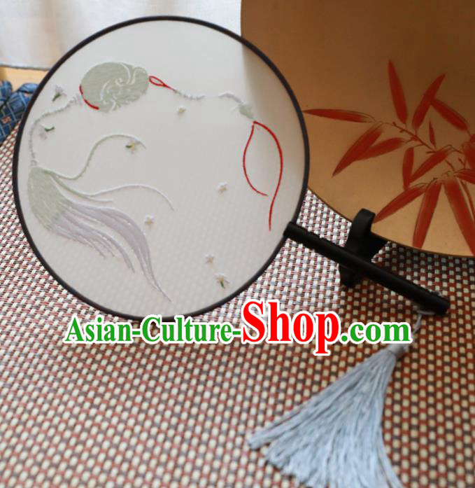 Chinese Traditional Hanfu Embroidered Palace Fans Ancient Handmade Round Fans for Women